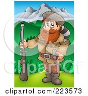 Royalty Free RF Clipart Illustration Of A Hunter Holding A Gun Near Mountains by visekart