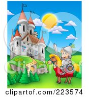 Royalty Free RF Clipart Illustration Of A Knight On A Steed Near A Castle