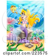 Royalty Free RF Clipart Illustration Of A Blond Mermaid Playing With Bubbles by visekart
