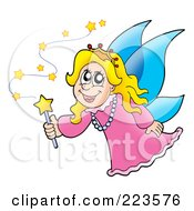 Royalty Free RF Clipart Illustration Of A Magic Fairy With BlueWings by visekart