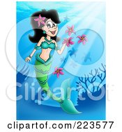 Royalty Free RF Clipart Illustration Of A Blond Mermaid Playing With Flowers by visekart