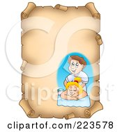 Royalty Free RF Clipart Illustration Of A Vertical Aged Parchment Page With A Massage Therapist
