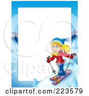 Royalty Free RF Clipart Illustration Of A Skiing Girl Border Frame Around White Space by visekart