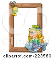 Royalty Free RF Clipart Illustration Of A Fishing Hook And Woman Holding A Fish Over A Wooden Frame