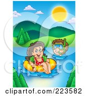 Royalty Free RF Clipart Illustration Of A Boy And Girl Swimming In A Lake