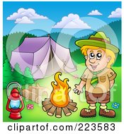 Royalty Free RF Clipart Illustration Of A Blond Scout Boy Presenting A Camp Fire By A Tent