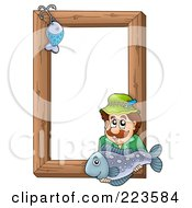 Fishing Hook And Man Holding A Fish Over A Wooden Frame