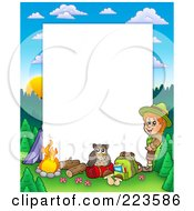 Royalty Free RF Clipart Illustration Of A Boy Camping Border Frame Around White Space 3