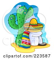 Royalty Free RF Clipart Illustration Of A Mexican Man Taking A Nap Against A Cactus