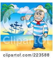 Royalty Free RF Clipart Illustration Of A Senior Sailor Holding A Spyglass On A Beach