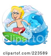 Royalty Free RF Clipart Illustration Of A Blond Summer Boy Surfing