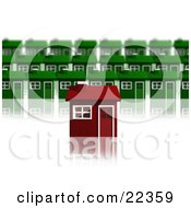 Clipart Illustration Of A Unique Red Brick House Standing Out In Front Of Rows Of Green Homes In A Neighborhood Over White by KJ Pargeter