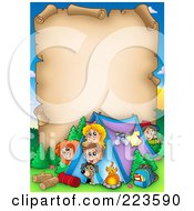 Royalty Free RF Clipart Illustration Of An Aged Parchment Page Of Camping Kids