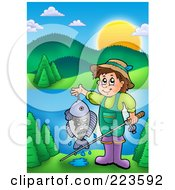 Boy Holding His Fishing Pole And Catch Near A Lake