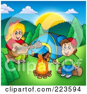 Royalty Free RF Clipart Illustration Of A Boy And Girl Around A Campfire