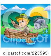 Royalty Free RF Clipart Illustration Of A Fish Jumping Near A Blond Scout Boy Rowing A Boat