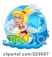 Royalty Free RF Clipart Illustration Of A Blond Summer Woman Surfing