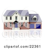 Two Story House With Blue Doors And A Two Car Garage On Top Of A Reflective White Surface