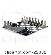 Clipart Illustration Of A Lineup Of Black And White Chess Pieces Kings Queens Rooks Knights Bishops And Pawns On A Both Sides Of The Chessboard Ready For A Battle