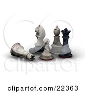 Clipart Illustration Of A White Chess Rook And Black Pawn Lying Down In Defeat Amung A Standing White Knight Pawn Bishop And Black King by KJ Pargeter