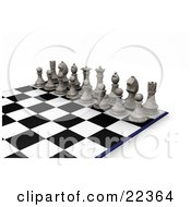 Clipart Illustration Of A Lineup Of White Chess Pieces The King Queen Rooks Knights Bishops And Pawns On A Chessboard Ready For A Battle by KJ Pargeter