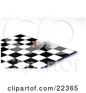 Clipart Illustration Of A White King Chess Piece Knocked Over On Its Side In Defeat During A Game Of Chess