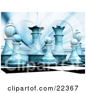 Clipart Illustration Of A Lineup Of The White Chess King Queen Bishops And Pawns On A Chessboard Cast In Blue Light by KJ Pargeter
