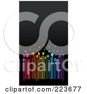 Business Card Design Of A Colorful Floral Barcode On Gray