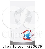 Royalty Free RF Clipart Illustration Of A Business Card Design Of A Red Ribbon Forming A House Over A Globe On A Gray Globe Background by Eugene