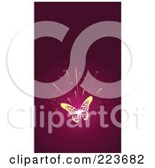 Royalty Free RF Clipart Illustration Of A Business Card Design Of A Gold Butterfly Burst On Pink by Eugene