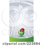 Business Card Design Of A Ladybug On A Green Orb On Gray Floral And Green