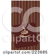 Royalty Free RF Clipart Illustration Of A Business Card Design Of A Brown Coffee Cup Tile On Stripes by Eugene