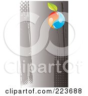 Business Card Design Of An Orange And Blue Yin Yang With A Leaf On Grungy Gray Halftone