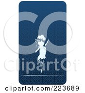 Royalty Free RF Clipart Illustration Of A Business Card Design Of A Sexy Woman Over A Blue Pattern by Eugene