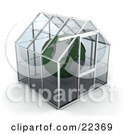 Green Planet Earth Floating Safetly Inside A Glass Greenhouse