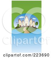 Royalty Free RF Clipart Illustration Of A Business Card Design Of Similar Houses In A Neighborhood On Green And Blue by Eugene