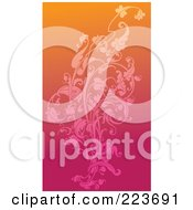 Royalty Free RF Clipart Illustration Of A Business Card Design Of A Floral Design Over Gradient Pink And Orange by Eugene