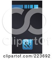 Business Card Design Of A Blue Line And Blue Ampersand Symbol On Gray
