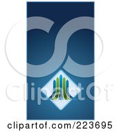 Royalty Free RF Clipart Illustration Of A Business Card Design Of Green And Blue Arrows Over Diamonds On Blue by Eugene