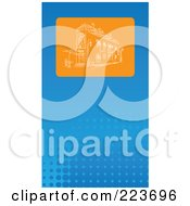 Royalty Free RF Clipart Illustration Of A Business Card Design Of An Orange Sketched Building On Blue Halftone by Eugene