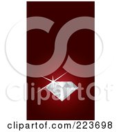 Royalty Free RF Clipart Illustration Of A Business Card Design Of A Sparkling Diamond On Red by Eugene