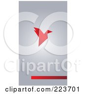 Business Card Design Of A Red Origami Bird On Gray Stripes