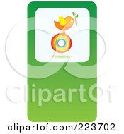 Business Card Design Of A Chicken With A Plant On A Rainbow Circle On Green
