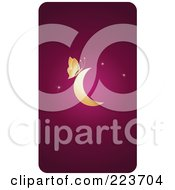 Royalty Free RF Clipart Illustration Of A Business Card Design Of A Golden Butterfly On A Crescent Moon Over Pink