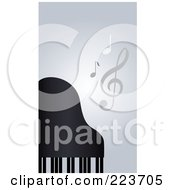 Royalty Free RF Clipart Illustration Of A Business Card Design Of Music Notes And A Piano On Gray by Eugene