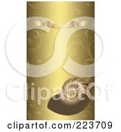 Business Card Design Of A Shell And Gold Banner On A Gold Floral Background