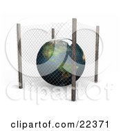 Planet Earth Protected Inside A Planet Earth Protected Inside A Wire Fence Safe From Pollution And Harm Or Symbolizing Security