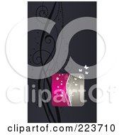 Royalty Free RF Clipart Illustration Of A Business Card Design Of Butterflies And Vines On Gray by Eugene