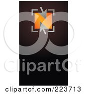 Royalty Free RF Clipart Illustration Of A Business Card Design Of Silver Arrows Over An Orange Box On Brown