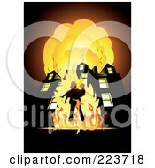 Royalty Free RF Clipart Illustration Of A Fireman Carrying A Child In Front Of A Blazing Building by Eugene